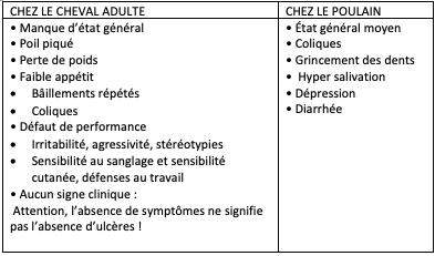 Les signes cliniques peut être associé aux ulcères gastriques